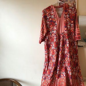 Red/Orange Floral Maxi Dress